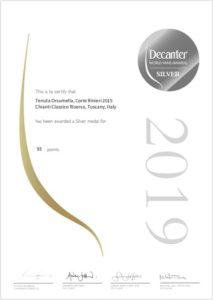 Tenuta Orsumella Corte Rinieri 2015 Chianti Classico Riserva Decanter World Wine Awards Silver medal 2019 - Wijnhandel Smit
